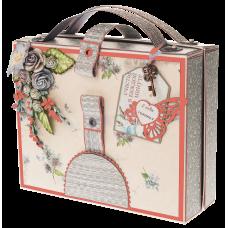 Открытка чемоданчик Розовая
